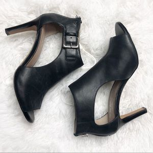 Coach And Four Black Peep Toe Claudia Heels